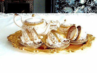 Exquisite Stunning Bone China Tea Set For 6 Gold  Hand Decorated