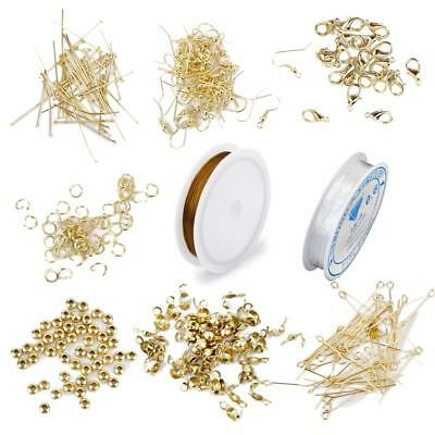 Gold Craft Jewelry Kit Earrings Findings Wire PINS CLASP Crimps HOOKS DIY