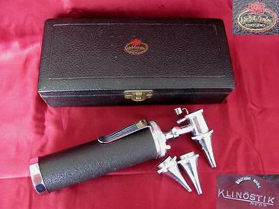 Antique Medical British Full Ophthalmoscope Set Klinostik In Original Box
