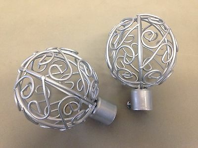Cage Finial Set silver 19mm curtain pole Ends