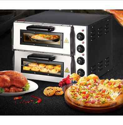 "New 220V 16"" Double Electric Pizza Oven Commercial Ceramic Stone J"