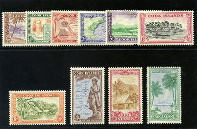 Cook Islands 1949 KGVI Pictorial set complete MLH. SG 150-159. Sc 131-140