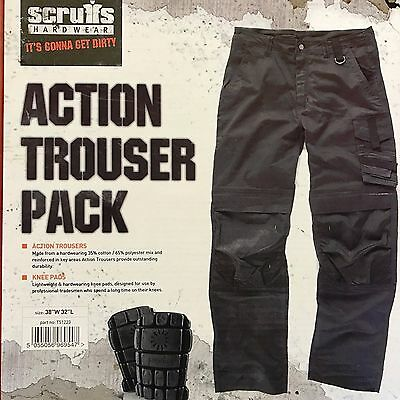 Scruffs Work Trousers Grey cargo Action Trousers  Knee Pads Included