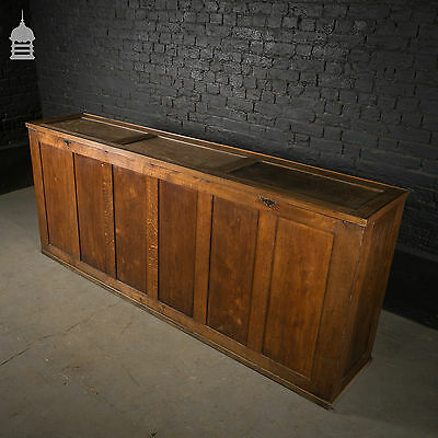 19th C Solid Oak Church Linen Cupboard Chest