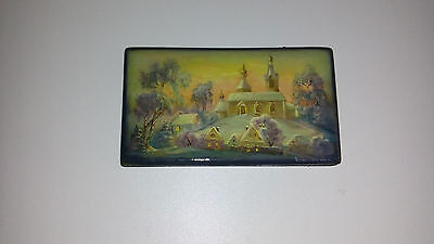 Russia-Vintage plate lacquer miniature painting Fedoskino. Winter landscape-1954