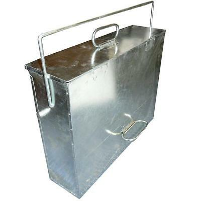 Large Galvanized Metal Ash Tidy Box Carrier Bucket Fireplace Pan Bin FIRE168