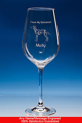 Dalmatian Dog Gift Personalised Engraved Fine Quality Wine Glass