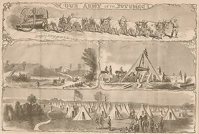 Our Army Of The Potomac. Camp of 4th New Jersey Regiment. 1861 Antique Engraving