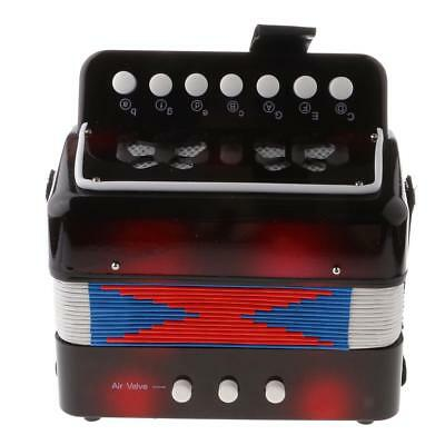 Child Button Toy Accordion Musical Instrument, 7 Keys, 3 Bass Buttons Black