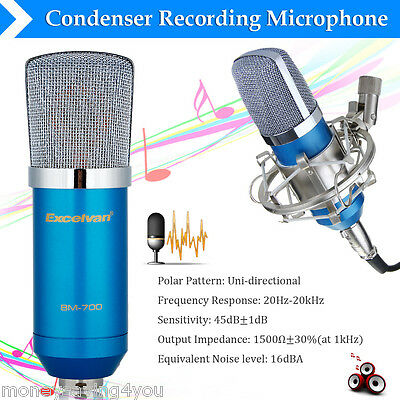 Floureon Condenser Microphone For Studio Recording With Shock Mount Blue BM-800