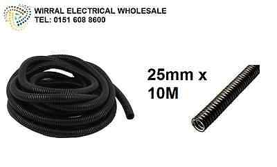 25mm 10M Black Flexible Conduit Corrugated Cable Tube Contractor Pack (Copex)
