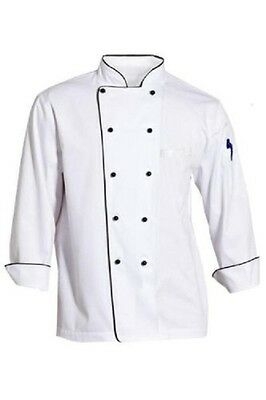 Chefs Jacket Chef White With Black Piping Coat Chefwear Unisex Catering Food