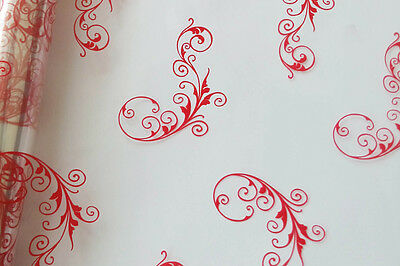 RED CHRISTMAS SCROLL CELLOPHANE ROLL for XMAS Gift Hamper Wrap Packaging - 20m