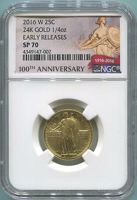2016 W Gold Standing Liberty Quarter, NGC SP70 ER. 1/4 Oz. Early Release. Centen
