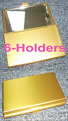 TZ Case Business card Holder with Mirror All metal Pocket size 6-Gold ANC002G