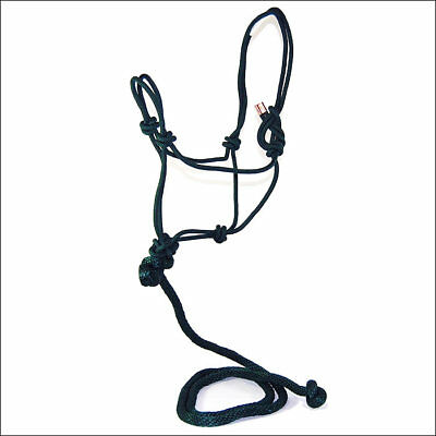 S111 Adult Horse Rope Halter W/ Lead Average By Hamilton Products Usa Dark Green