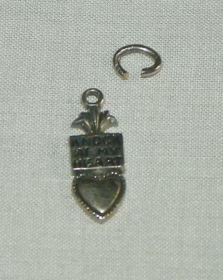 Vintage 2D KNOCK ON MY HEART door knocker sweet love Sterling Silver Charm #18w