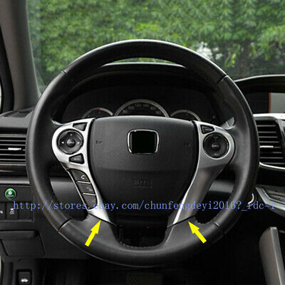 2pcs ABS Chrome steering wheel decorative cover trim for Honda Accord 2014 2015