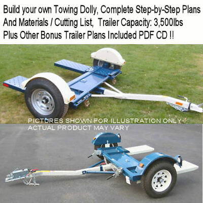 Towing Dolly Trailer Plans On Cd   Step By Step Procedures   *nice+Easy*