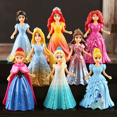8pcs Cute Princess Action Figures Changed Dress Doll Kids Boy Girl Toy Set Gift
