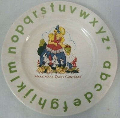 "Bridalane Abc Children's Plate Mary Mary Quite Contrary 1930's Style 7"" Evuc"
