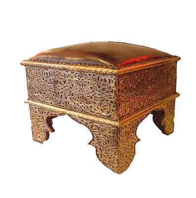 Square Moroccan Silver Stool- Red Brown leather - L 45 W 45