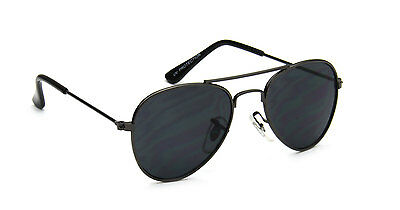 Aviator Toddler Sunglasses Gray Metal Vintage Retro Fashion Black Lens