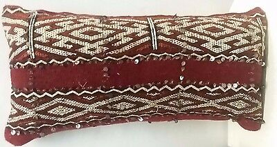 Vintage Moroccan Handmade Red Sequinned Berber Pillow