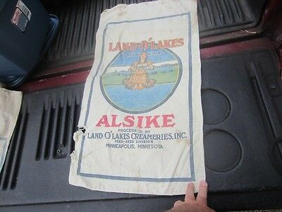 Vintage Land O Lakes Alsike Feed Seed Sack Bag Indian Maiden Cloth White