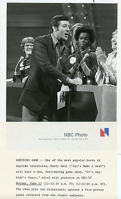 Monty Hall And Panelists It's Anybody's Guess Game Show 1978 Nbc Tv Photo