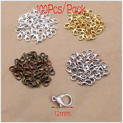 100Pcs Silver Gold Copper Plated 12mm Lobster Clasps Hooks Jewelry Accessories
