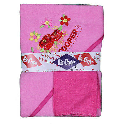 Ensemble De Bain Naissance 2 Pieces Lee Cooper Rose Cape De Bain Serviette +Gant