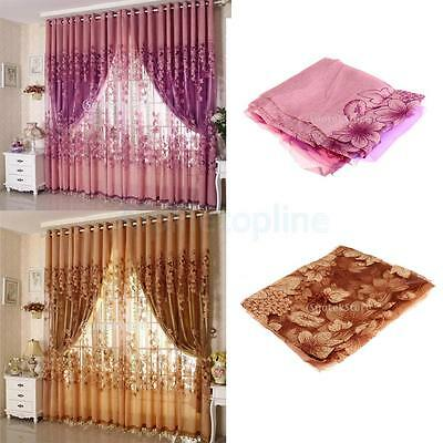Floral Tulle Voile Door Window Room Curtain Drape Panel Sheer Scarf Valances