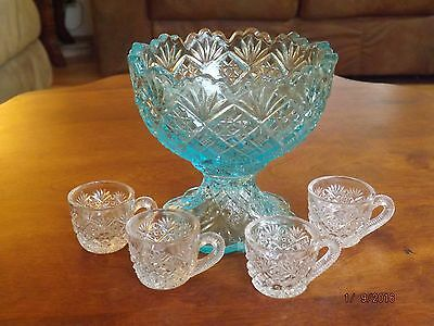 Westmoreland THUMBELINA PUNCH BOWL w/ 4 CUPS Child Doll Size Blue