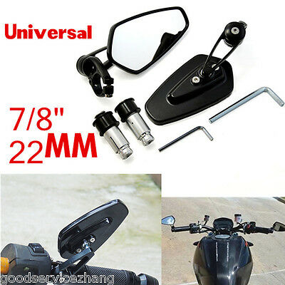 "Black Universal Motorcycle Moto 7/8"" 22mm Handle Bar End Rearview Side Mirrors"