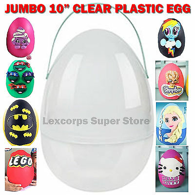"""The ORIGINAL Jumbo 10"""" Plastic Egg for YOUTUBE SURPRISE EGG Clear with Handle"""