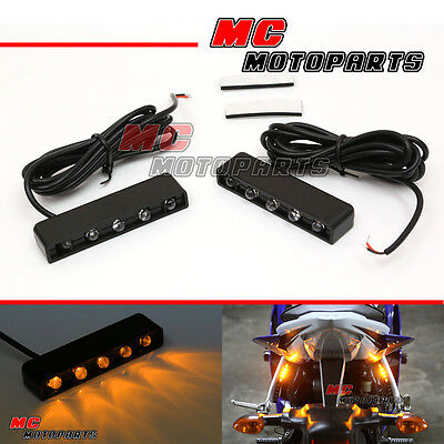 Foot Pegs LED Motorcycle Turn Signal Light Indicators Rear Tail Super Bright