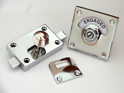 1st CHROME BEEHIVE VACANT ENGAGED TOILET BATHROOM LOCK BOLT INDICATOR DOOR KNOBS
