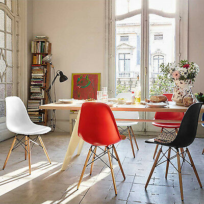 Dining Lounge Retro Chairs Eiffle Dsw Style Plastic Seat W/ Wooden Legs Garden