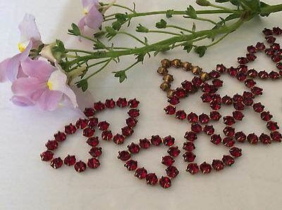 Brass set heart Vintage Rhinestone approx 17x17mm Pack 5 CRAFT Colour Options