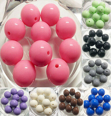 100Pcs 8mm 10mm DIY Acrylic Round Pearl Spacer Loose Beads Jewelry Making