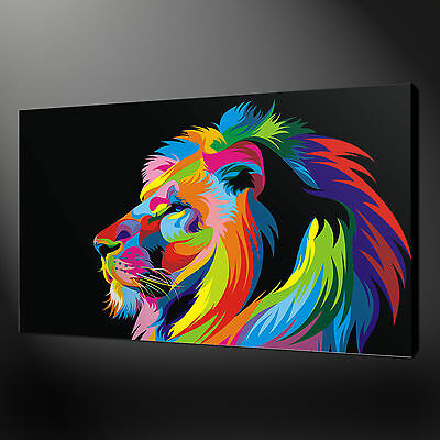 Abstract Colourful Lion Profile Canvas Print Wall Art Picture Ready To Hang