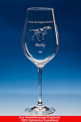 English Pointer Wine Glass Dog Gift, Personalised Engraved Crystal Dog Gift