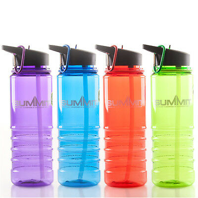 Colourful Summit Large 750ML Sports Hydration Water Bottle with Straw
