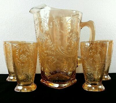 1950's Jeannette Glass Co. Louisa-Iridescent Floragold - 1 Pitcher & 4 Tumblers