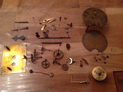 Antique Clock Parts Cogs Spring Hands More