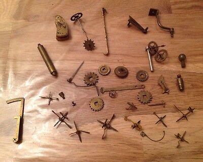 Antique Clock Parts Cogs Screws Escape More