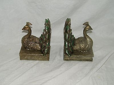 PEACOCK BOOKENDS GREEN GOLD Red Jewels 18904