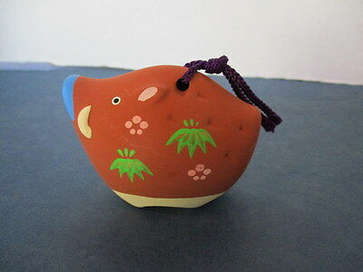 """Asian Clay Pig """"bell"""", Painted, With Original Label, 3"""" W X 2 1/4"""" H X 1 3/4""""  L"""
