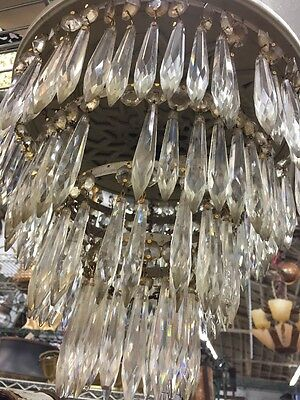 1920S Flush Mount Teardrop Crystal Chandelier